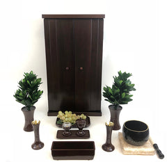 SP21 Walnut Butsudan with Butsugu and Bell Set