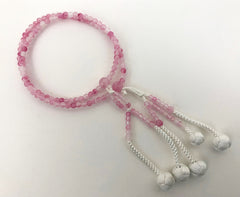 Pink Quartz Stone Beads with Silk Knitted Tassels