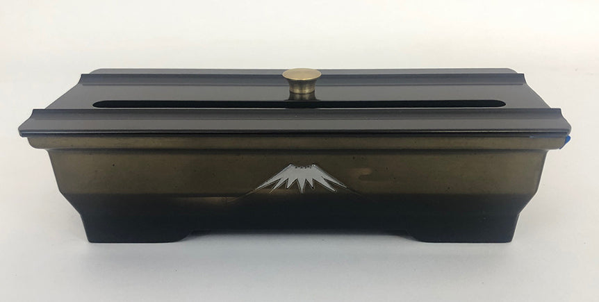 "7.4"" Long Two-Tone (Bokashi) Incense Burner with Mt. Fuji and Cover"