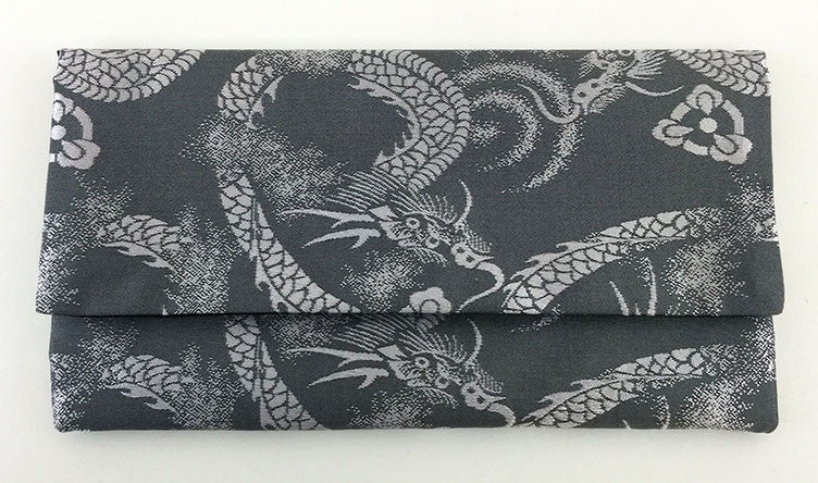 Grey Dragon Kimono Fabric Beads Case (Large)