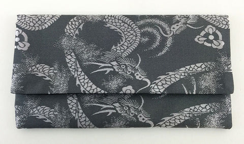 Gray Dragon Kimono Fabric Beads Case (Large)