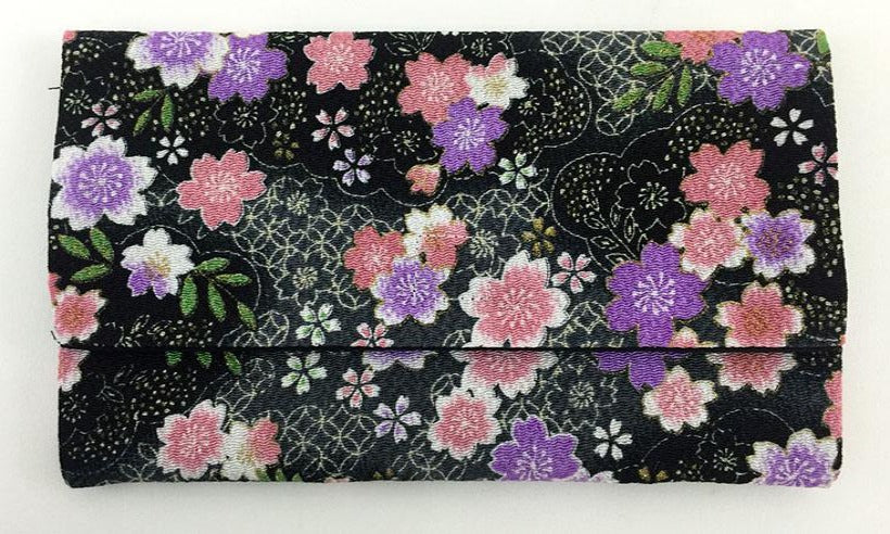 Black with Sakura Pattern Kimono Fabric Beads Case (Medium)