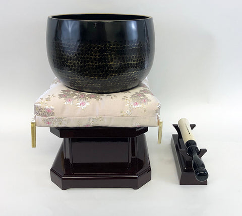 "No. 8 Bell (9.5"" Diameter) with Gold Floral Cushion and Cherry Base"