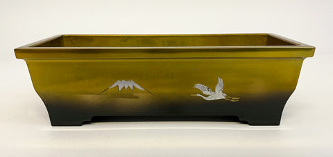"7.5"" Long Two-Tone (Bokashi) Incense Burner with Mt. Fuji and Crane (Display Model)"