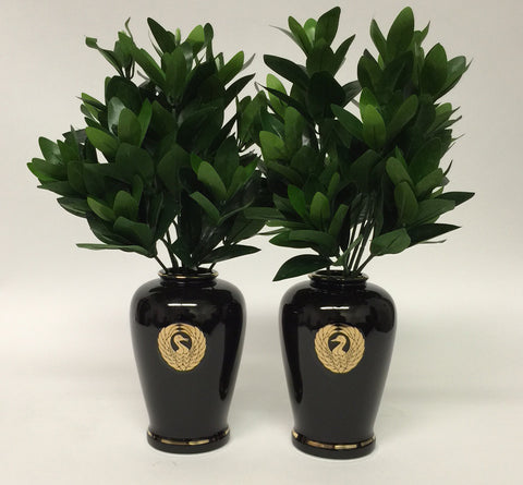 "7"" H Black Ceramic Vases with Crane Logo"