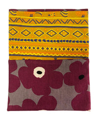 Maroon Floral Pattern Kimono Fabric Beads Case (Small)