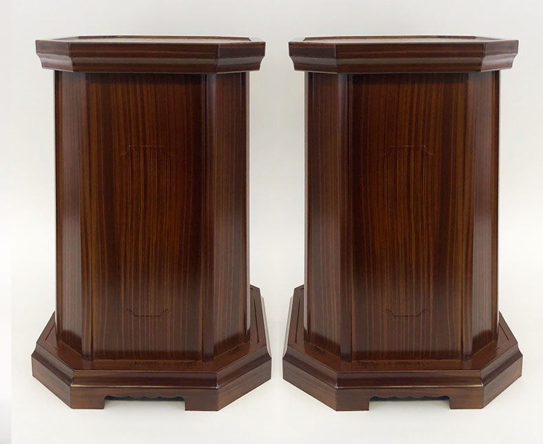 "12"" Tall Brown Maple Color Vase Stands"
