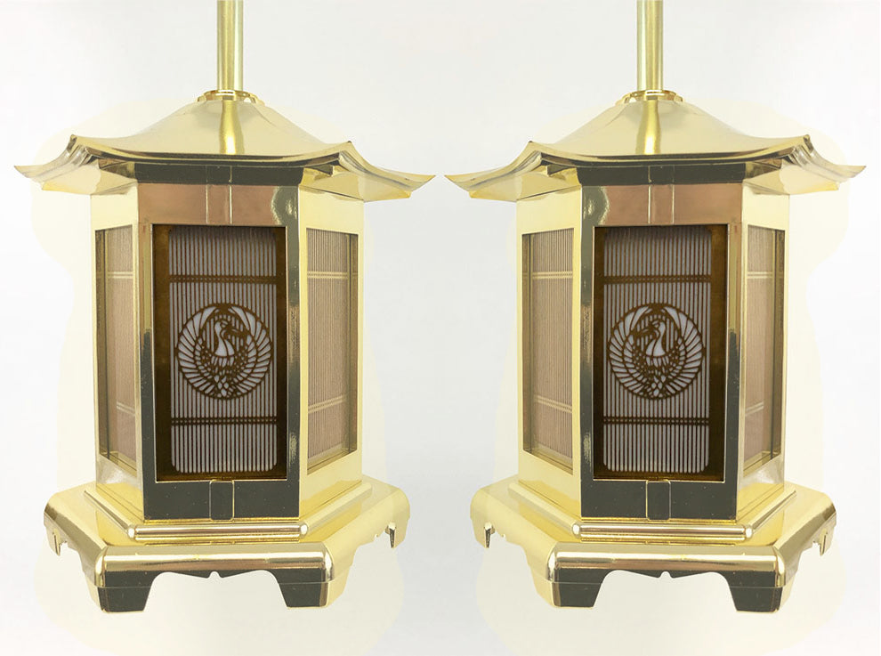 Electric Medium Golden Hanging Lanterns with Crane Logo