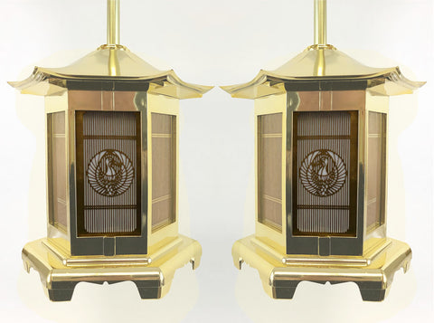 Gold Hanging Lanterns with Crane Logo (Display Model)