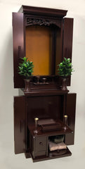 5121 Dark Mahogany Butsudan Set with Pull Out Table