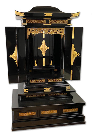 6450 Premium Black Lacquer Pagoda Style Butsudan with Automatic Inner Doors(Very Gently Used)