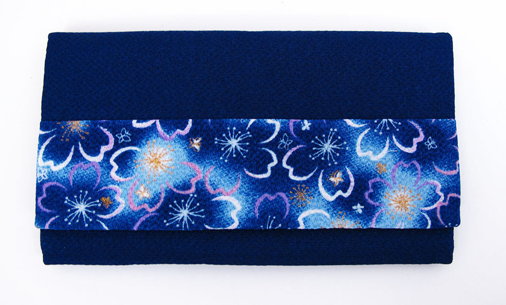 Blue with Sakura Print Flowers Kimono Fabric Beads Case (Small)