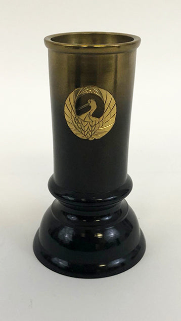 "4.75"" Tall Brass Incense Keeper with Crane Logo"