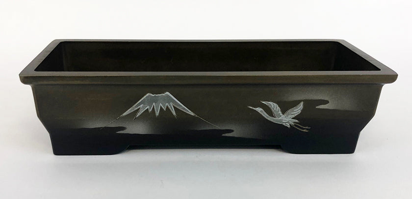 "7.5"" Long Two-Tone (Bokashi) Incense Burner with Flying Crane"