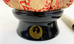 "Vintage No. 5 Bell (6.75"" Diameter) with Red Flower Cushion and Premium Wooden Black Base with Crane Logo"