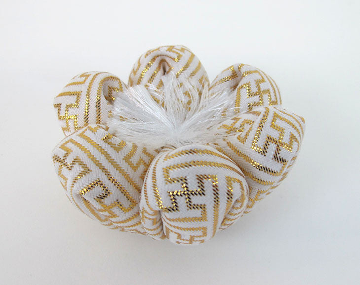 "White & Gold Flower Bell Cushion for No. 2.3 (2.75"" Diameter) Bell"