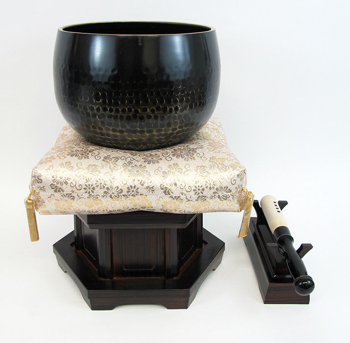 "No. 7 Bell (8.5"" Diameter) with Gold Floral Cushion and Ebony Base"
