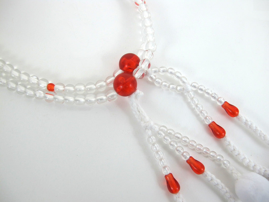Clear with Red Beads