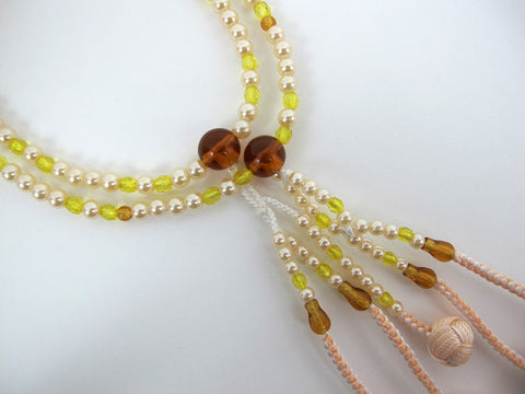 Yellow & Pearl Beads with Knitted Tassels