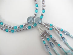 Light Blue & Pearl Beads with Knitted Tassels