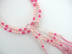 Pink & Pearl Beads with Knitted Tassels