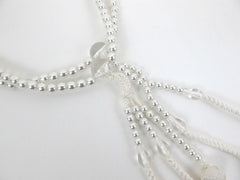White Pearl Beads with Knitted Tassels