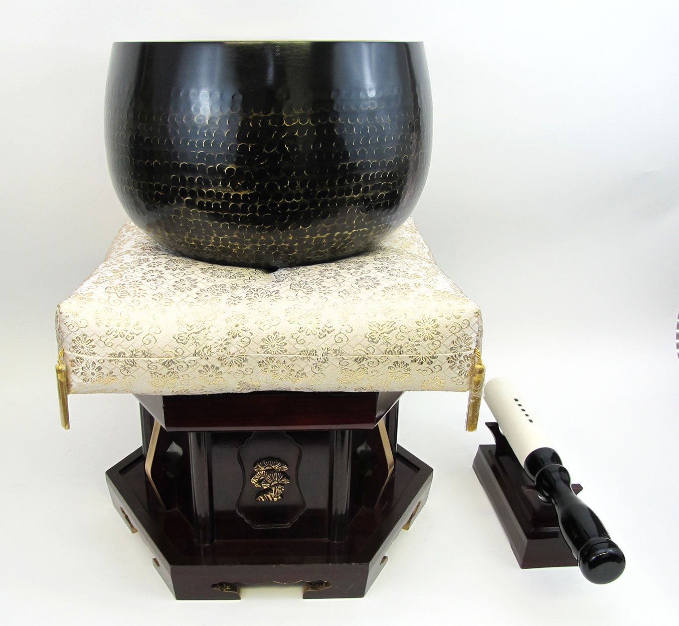 "No. 10 Bell (13"" Diameter) with Gold Cushion with Cherry Wood Base"