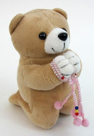 Medium Brown Praying Bear with Mini Pink Beads