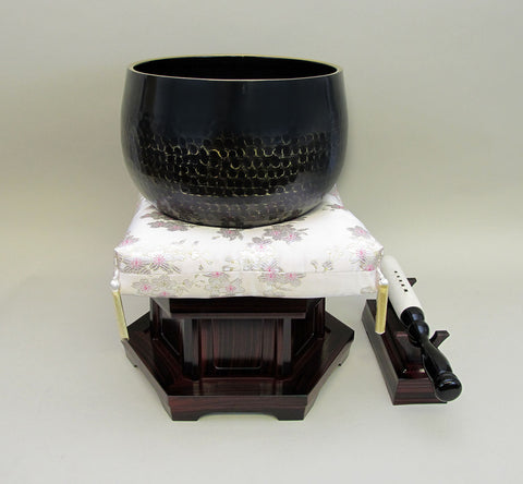 "No. 8 Bell (9.5"" Diameter) with Sakura Flower Square Cushion and Red Sandalwood Base"