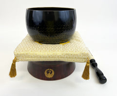 "No. 6 Bell (7.75"" Diameter) with Golden Hexagonal Pattern Cushion and Red Sandalwood Base with Crane Logo (Display Model)"