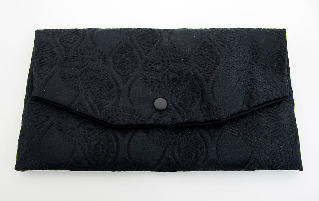 Black with Embroidery Kimono Fabric Beads Case (Large)