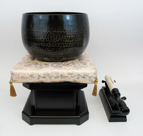 "No. 8 Bell (9.5"" Diameter) with Gold Floral Cushion and Ebony Base"