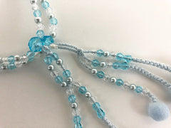 Light Blue & Pearl Beads & Clear with Cotton Tassels