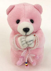 Medium Pink Praying Bear with S.G.I. Logo Mini Beads