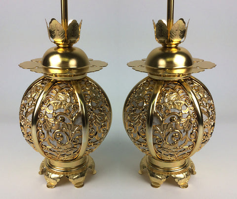 Large Gold Hanging Lanterns