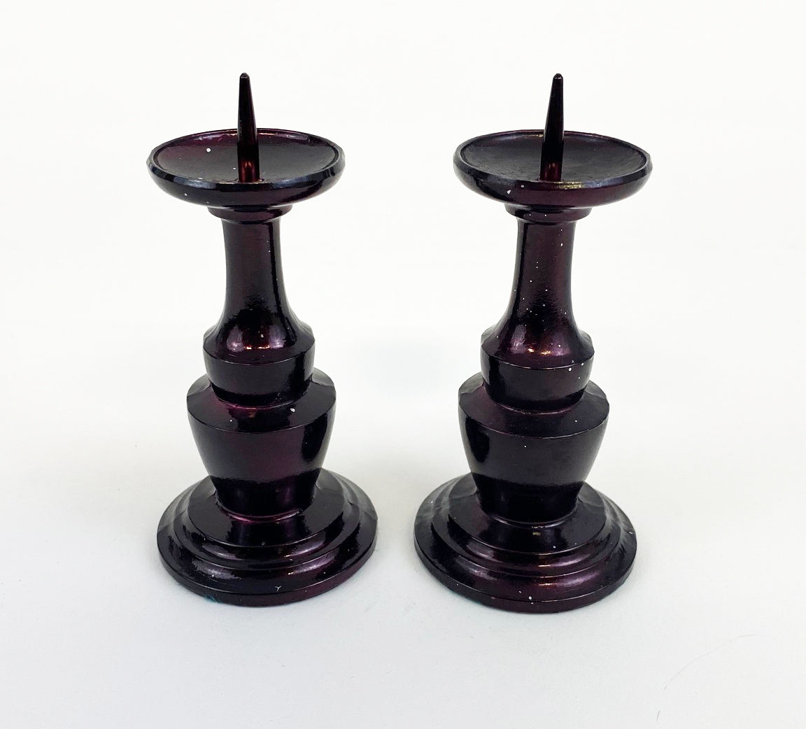 "Used 4.25"" H Cherry Candle Stands Set"