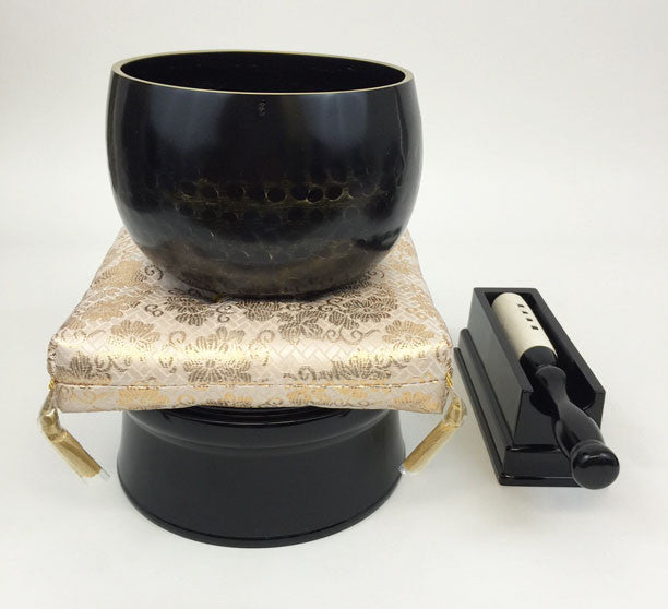 "No. 5 Bell (6.75"" Diameter) with Golden Floral Cushion and Black Base"