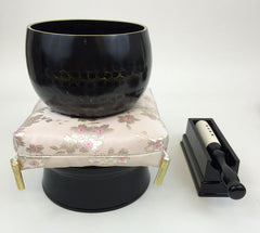 "No. 5 Bell (6.75"" Diameter) with Sakura Flower Cushion and Black Base"