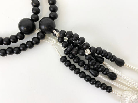 Black Wood Beads with Silk Tassels