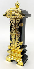 Premium Japanese Black Lacquered with Golden Trim Ihai with outer doors, Memorial Tablet