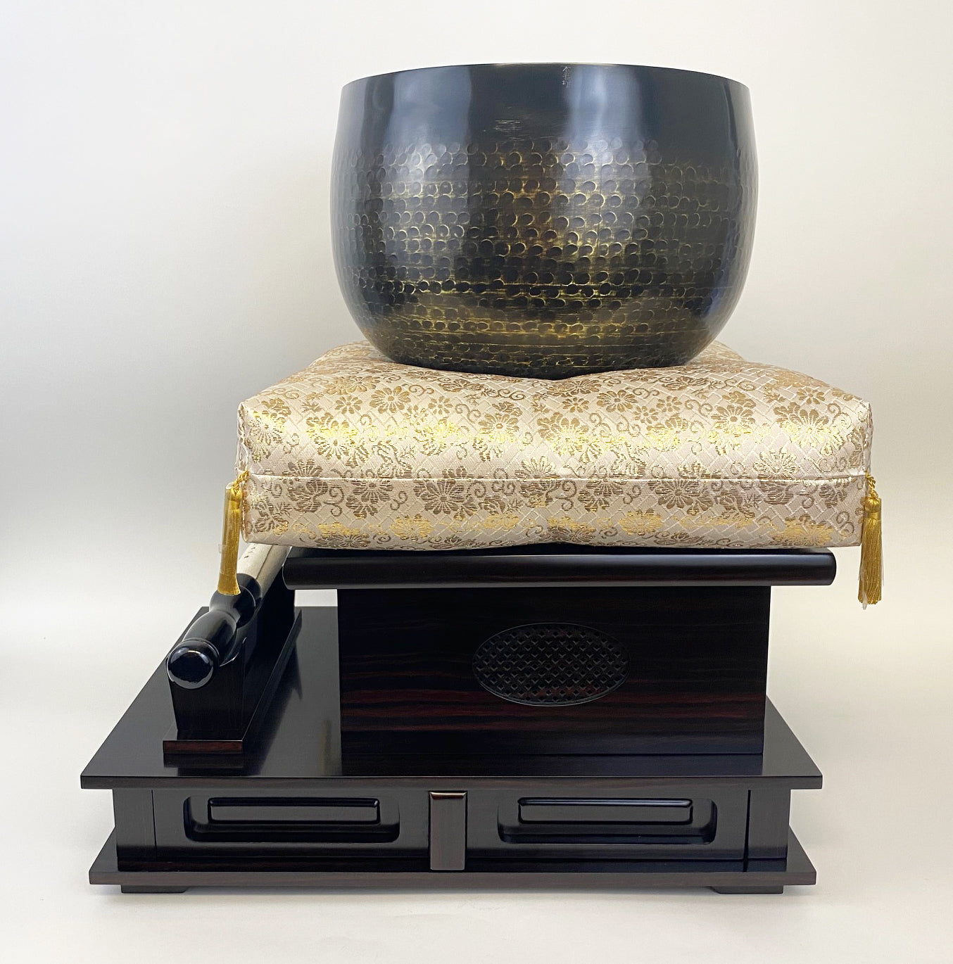 "No. 9 Hand Pounded Bell (10.5"" Diameter) with Ebony Wooden Base and Gold Cushion with Bell Stick Set"