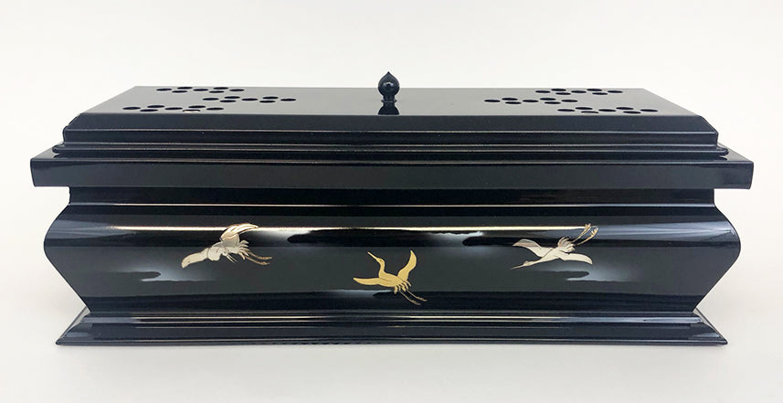 "12.5"" Long Premium Black Incense Burner with Flying Cranes"