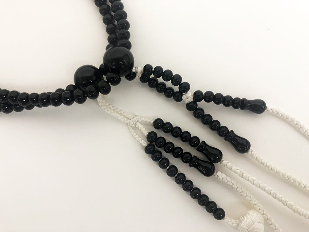Ebony Wood (Black) Bead with Silk Knitted Tassels