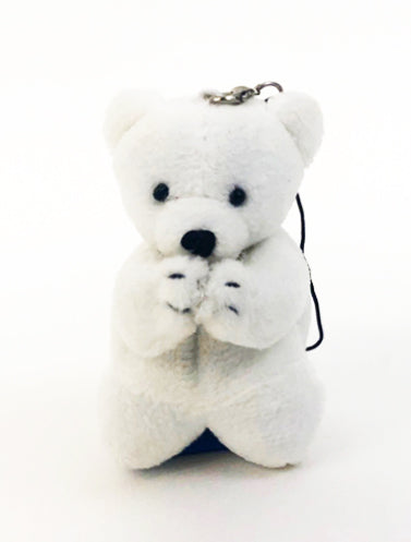 Small White Praying Bear with Strap