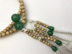 Lindenwood (Bodai) Beads with Jade and Silk Knitted Tassels