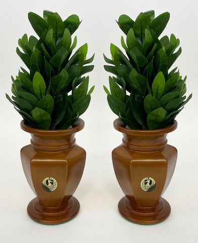"6.5"" H Maple / Oak Colored Vases with Crane Logo"