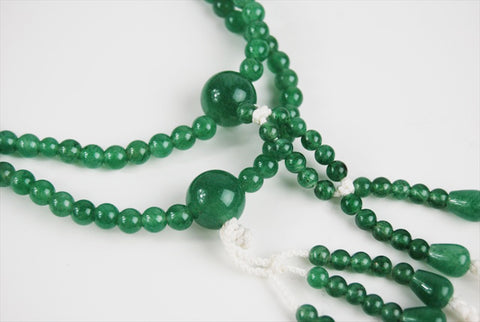 Jade Beads with Silk Knitted Tassels
