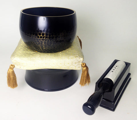 "No. 5 Bell (6.75"" Diameter) with Golden Hexagonal, Black Base and Stick Holder Set"