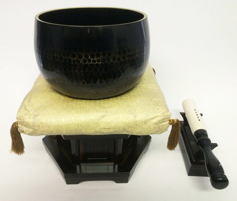 "No. 7 Bell (8.5"" Diameter) with Hexagonal Patterned Gold Cushion and Ebony Base"