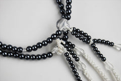 Black Pearl Beads with Cotton Tassels